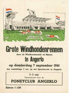 B80 Windhondenclub uit Rijssen Grote windhondenrennen met demonstratie door Ponyclub Angerlo Donderdag 7 september 1961 Sportterrein, Angerlo