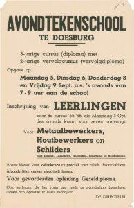 J3 Avondtekenschool Inschrijving van leerlingen voor 1955-1956 Maandag 5, dinsdag 6, donderdag 8 en vrijdag 9 september 1955 Doesburg