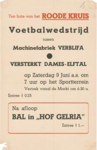 L7 Voetbalwedstrijd tussen elftal van Machinefabriek Verblifa en versterkt dames elftal ten bate van het Rode Kruis, na afloop bal Zaterdag 9 juni Sportterrein en Hotel Hof Gelria, Doesburg