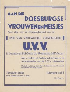 G13 Unie van Vrouwelijke Vrijwilligers Propaganda-avond Woensdag 20 februari Hotel Hof Gelria, Doesburg