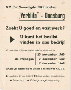 G42 N.V. De Vereenigde Blikfabrieken Verblifa, Doesburg Inlichtingen over vacatures Vrijdagen 25 november, 2 en 9 december 1960 Café De Harmonie, Didam