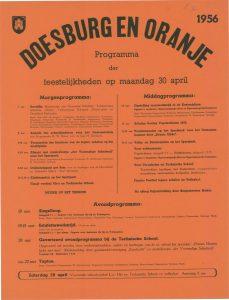 E5 Doesburg en Oranje Programma van feestelijkheden Maandag 30 april 1956 Doesburg