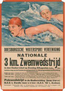 E12/N8 Doesburgse watersport Vereniging Nationale 3 km zwemwedstrijd en polowedstrijd, ter gelegenheid van Doesburg 700 jaar stad Zondag 8 augustus 1937 In de Oude IJssel en in badinrichting