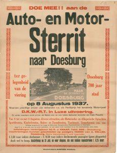 E14 Auto en motor-sterrit ter gelegenheid van Doesburg 700 jaar stad 8 augustus 1937 Doesburg