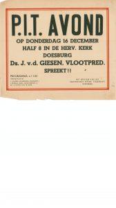 C27 Protestants Interkerkelijk Thuisfront Doesburg P.I.T. avond, spreker ds. J. Van de Giesen (vlootpredikant) Donderdag 16 december Nederlands Hervormde kerk, Doesburg