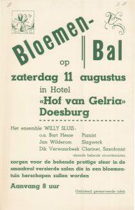 B11 Bloemenbal met ensemble Willy Sluis Zaterdag 11 augustus Hotel hof Gelria, Doesburg
