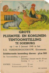 F6 Pluimvee en konijnententoonstelling 1 en 2 januari 1949 R.K. Verenigingsgebouw, Doesburg