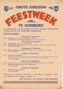 E32 Grote jubileum feestweek ter gelegenheid van de kroning van H.M. de koningin Juliana en het 70-jarig bestaan van het Doesburgse mannenkoor Maandag 6 t/m zondag 12 september Doesburg