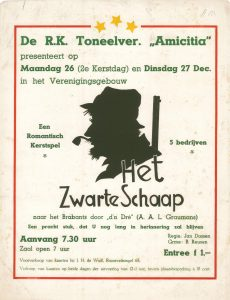 """A122 R.K. Toneelvereniging Amicitia Kerstspel """"Het zwarte schaap"""" Maandag 26 en dinsdag 27 december Verenigingsgebouw, Doesburg"""