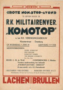"A114 R.K. Militairenvereniging ""Komotop"" Grote Non stop avond Woensdag 7 juni 1939 R.K. Verenigingsgebouw, Doesburg"