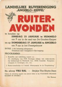 B27 Landelijke Rijvereniging Angerlo-Keppel Ruiteravonden, na afloop bal Dinsdag 25 januari, De Gouden Karper te Hummelo Donderdag 27 januari, Feestgebouw te Angerlo