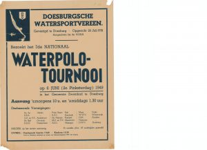 B29 Doesburgse Watersport Vereniging 7e Nationaal Waterpolo tournooi 2e Pinksterdag 6 juni 1949 Gemeente zwembad, Doesburg
