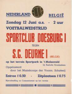 B34 Voetbalwedstrijd Nederland - België, Sportclub Doesburg 1 tegen S.G. Deurne 1 (België) Zondag 12 juni Terrein Sportpark in 't Molenveld, Doesburg
