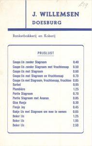 G39 J. Willemsen Banketbakkerij en Kokerij Prijslijst Doesburg